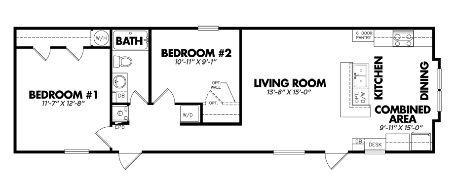 Floorplan of Legacy Housing Model # 1656-21FKB