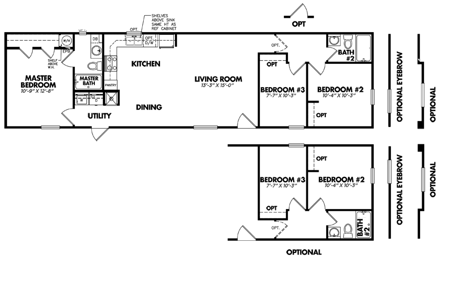 1664-32C3 Bedroom Home