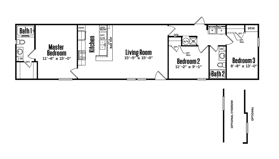 1672-32C3 Bedroom Home