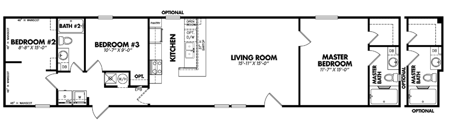 1672-32E3 Bedroom Home