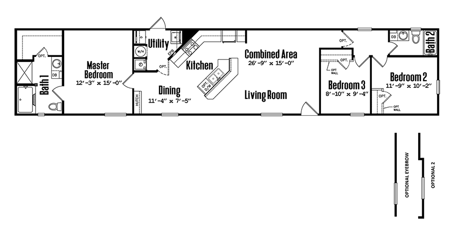 Floorplan of Legacy Housing Model # 1680-32C