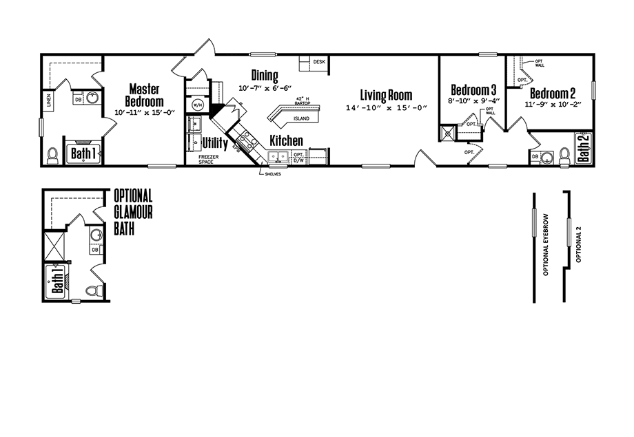 Legacy 1680-32HSinglewide Home Floorplan