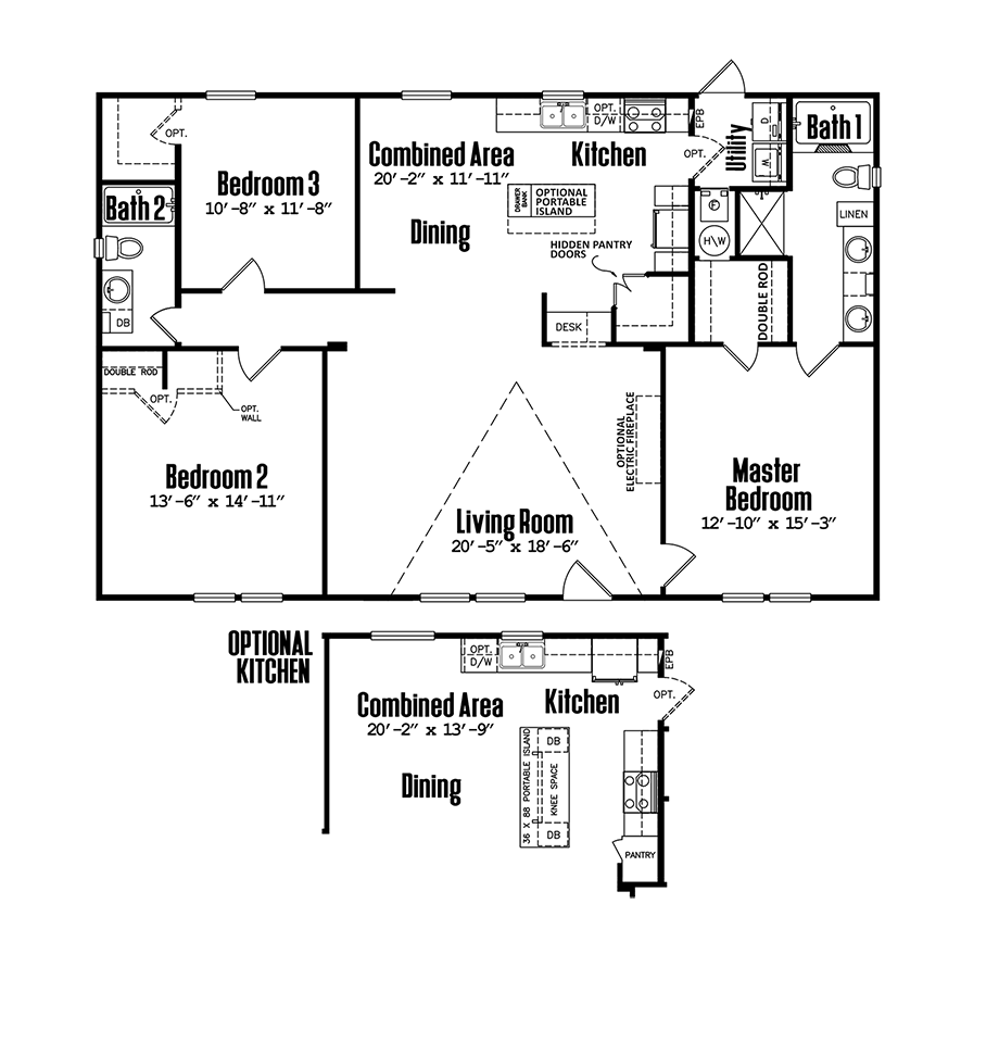 Legacy 3252-32DDoublewide Home Floorplan
