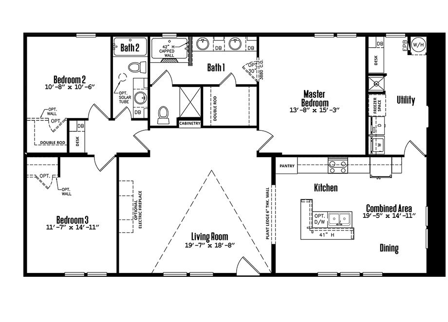 Floorplan of Legacy Housing Model # 3256-32D