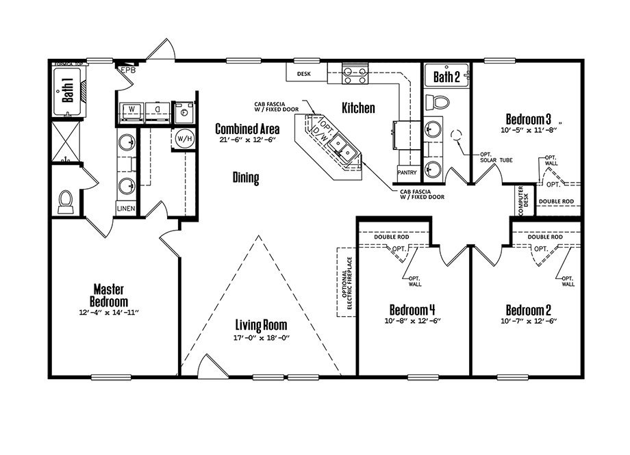 Legacy 3256-42BDoublewide Home Floorplan