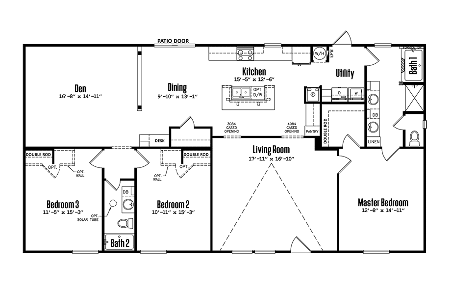 Legacy 3264-32ADoublewide Home Floorplan