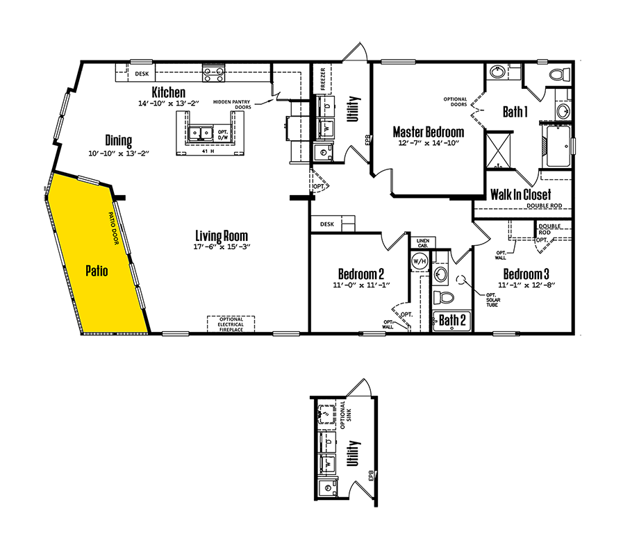 Floorplan of Legacy Housing Model # 3264-32AP