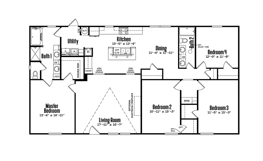 Legacy 3264-32BDoublewide Home Floorplan