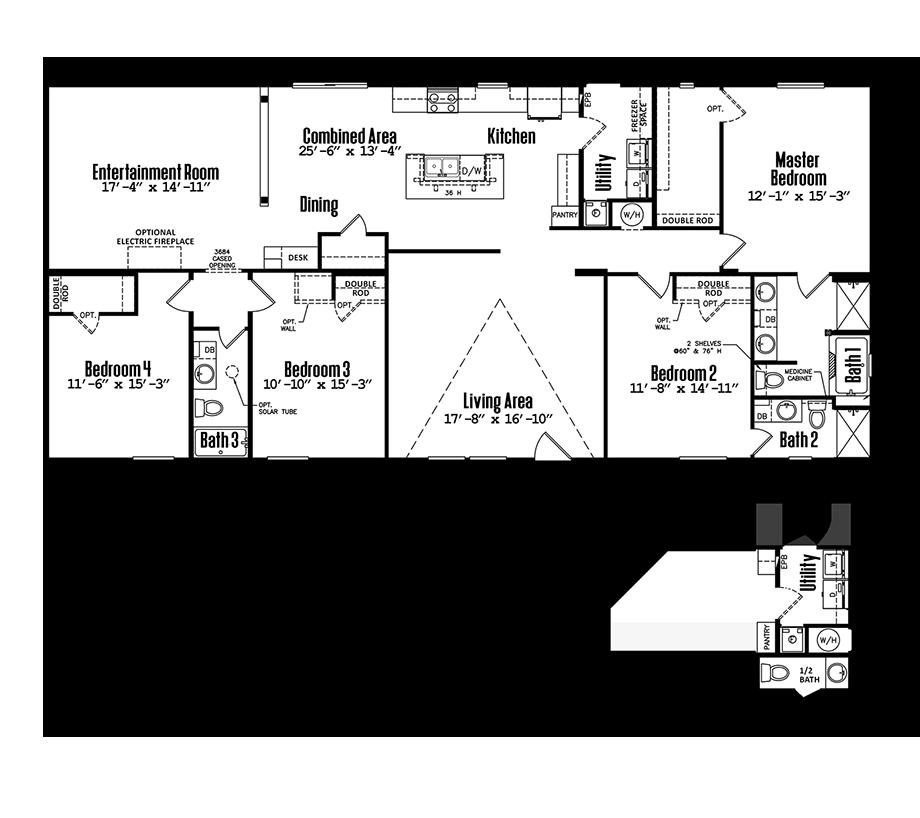 Floorplan of Legacy Housing Model # 3272-43A