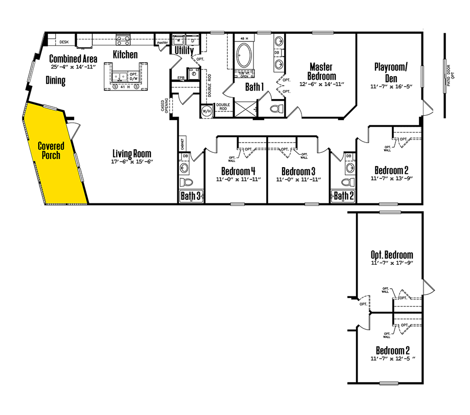 Legacy 3276-43APDoublewide Home Floorplan
