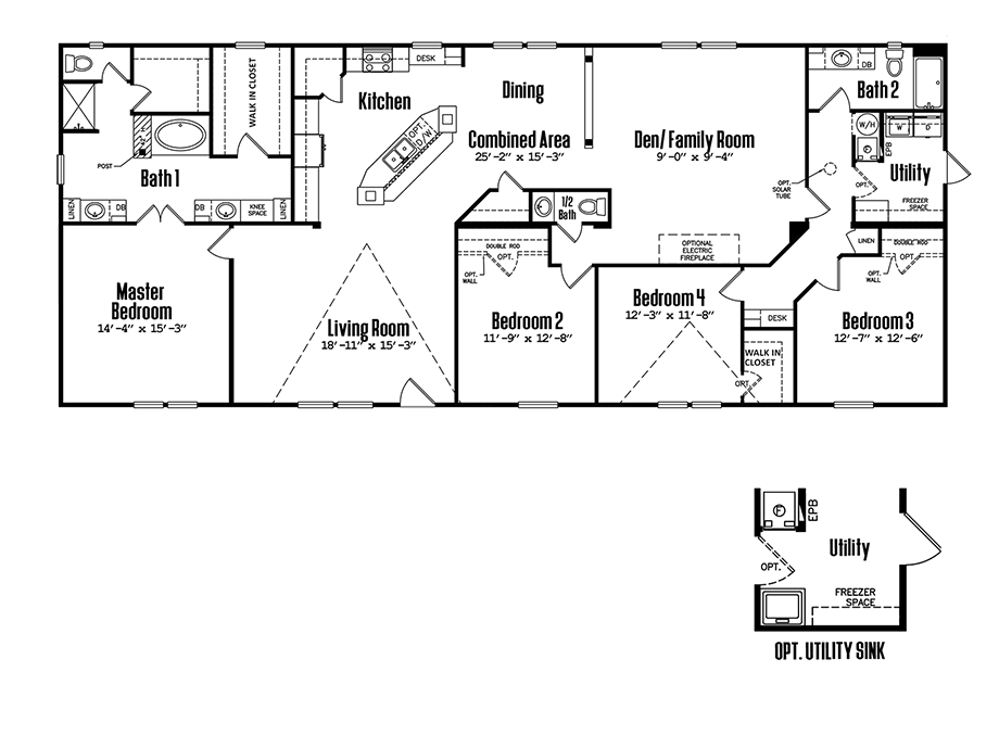 Floorplan of Legacy Housing Model # 3280-425A