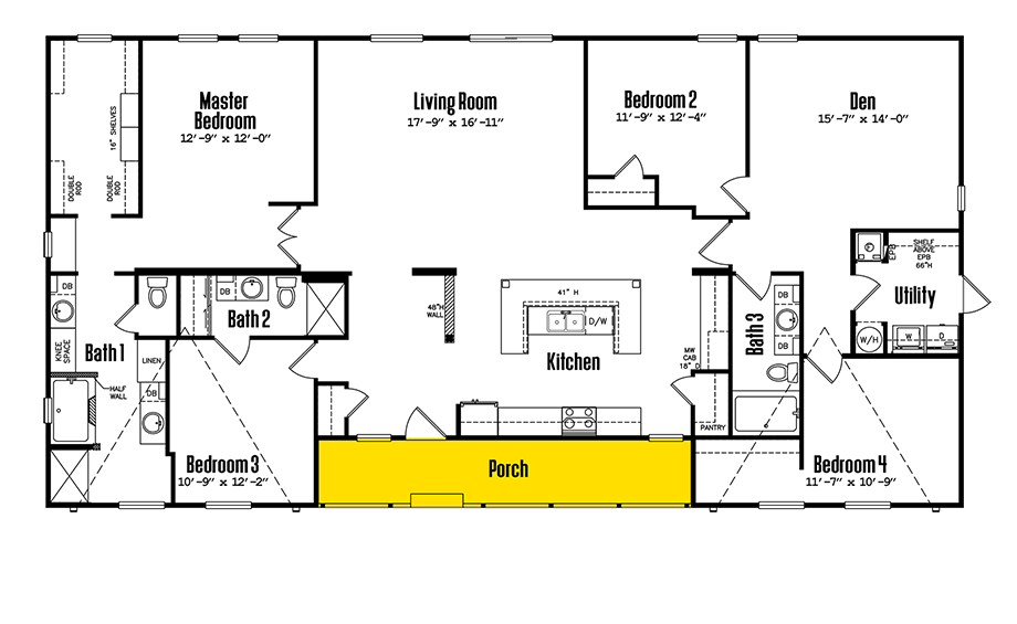 Legacy 3672-43ADoublewide Home Floorplan
