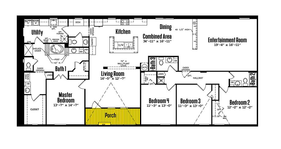 3680-435FLPB4 Bedroom Home