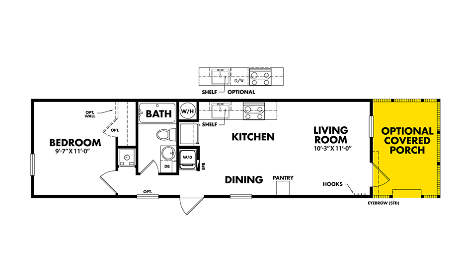 Legacy S-1244-11ATiny House Floorplan