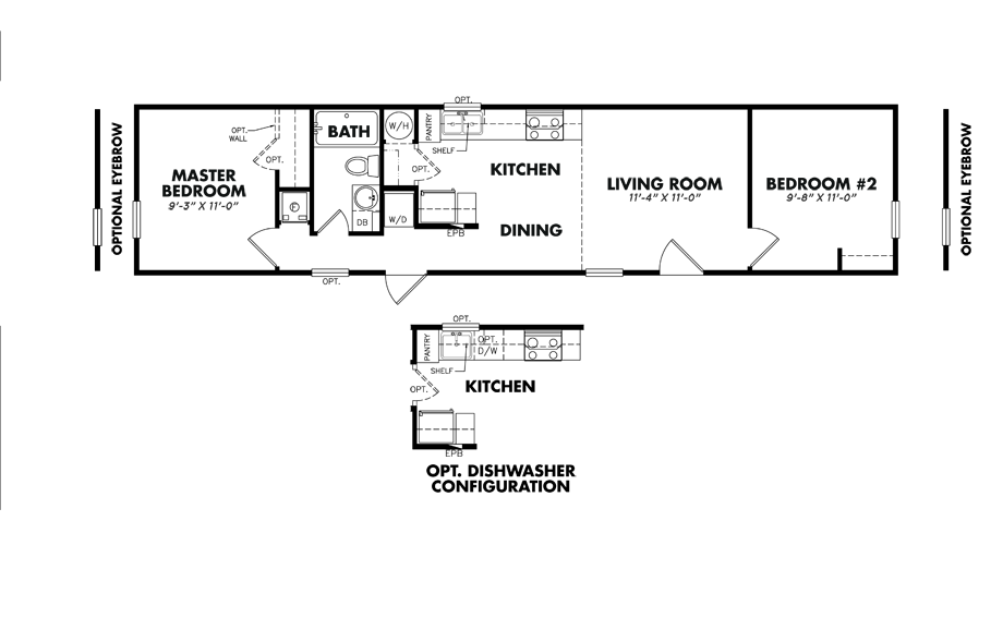 Floorplan of Legacy Housing Model # S-1256-21A
