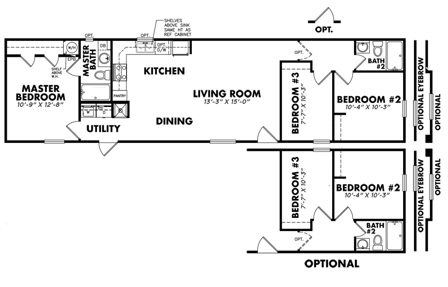 S-1664-32C3 Bedroom Home
