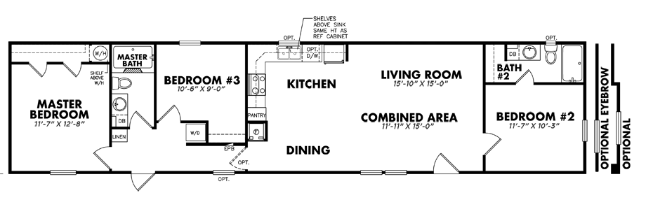 S-1672-32A3 Bedroom Home