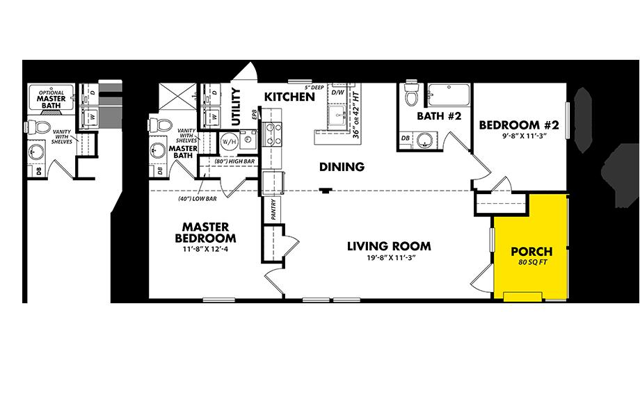 Floorplan of Legacy Housing Model # S-2448-22FLP