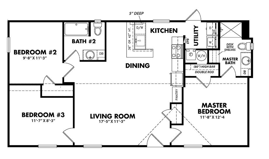S-2448-32A3 Bedroom Home
