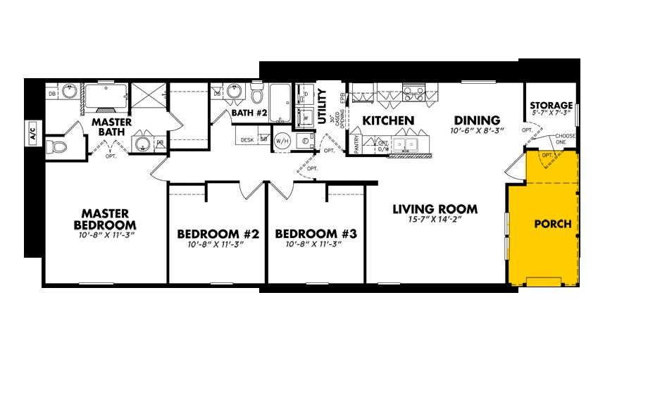 Floorplan of Legacy Housing Model # S-2464-32FLP