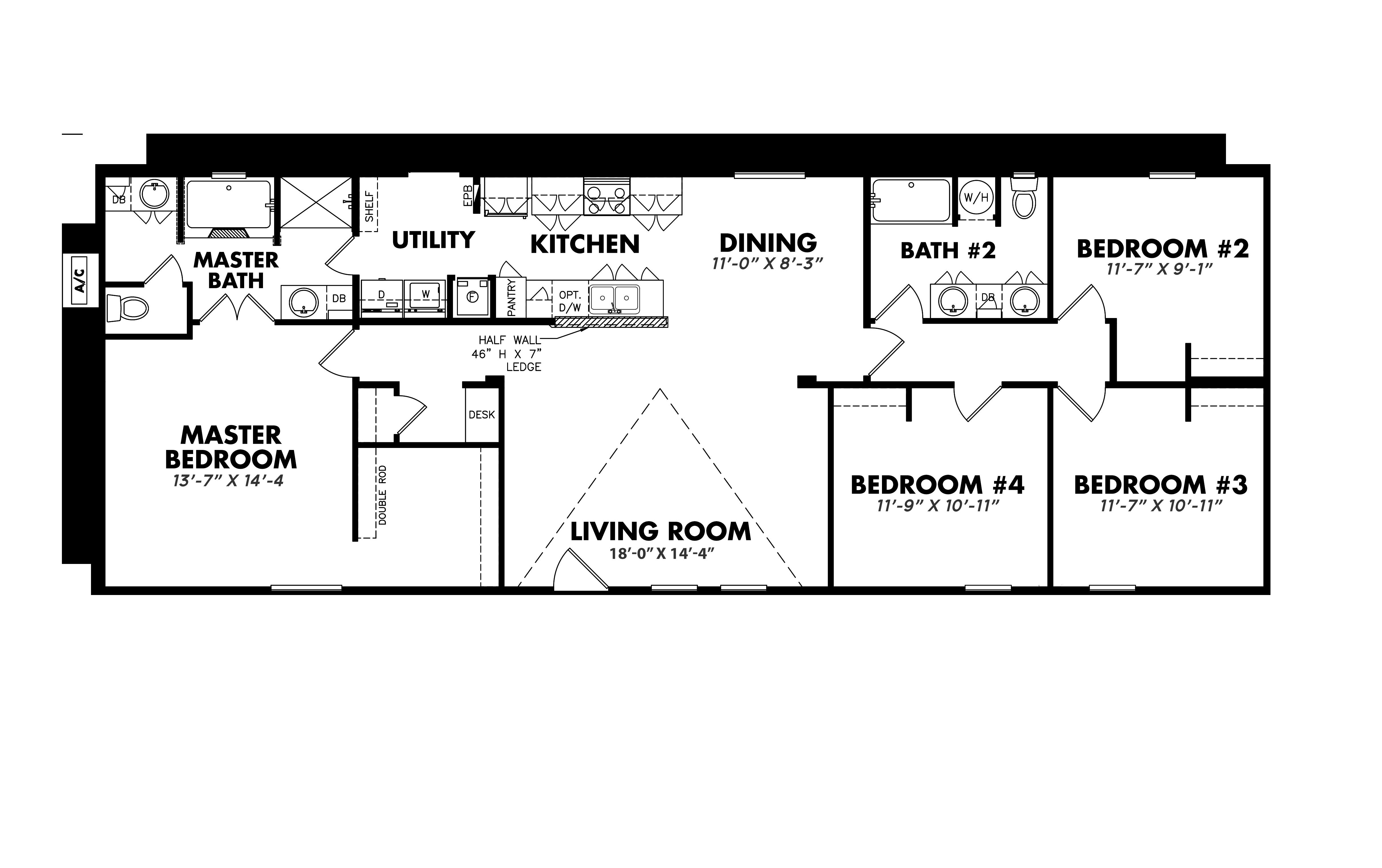 Floorplan of Legacy Housing Model # S-2468-42A
