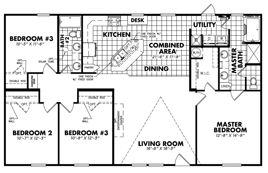 Legacy S-3256-42ADoublewide Home Floorplan