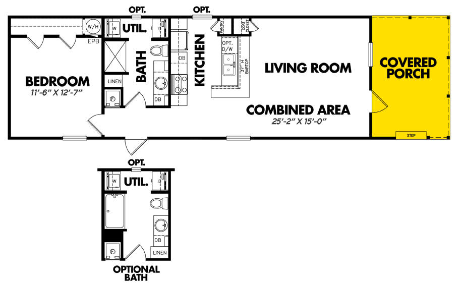 Floorplan of Legacy Housing Model # U-1660-11FLPA