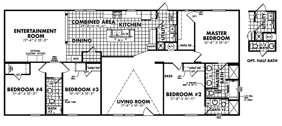 Legacy U-3272-43ADoublewide Floorplan