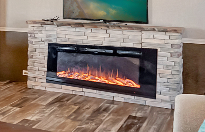 LED 60-inch Electric Fireplace w/ Rock (built in)